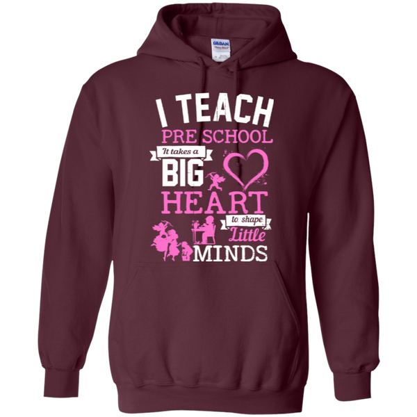 I Teach Preschool It Takes a Big Heart to Shape Little Minds Hoodie 8 oz - TeachersLoungeShop - 7