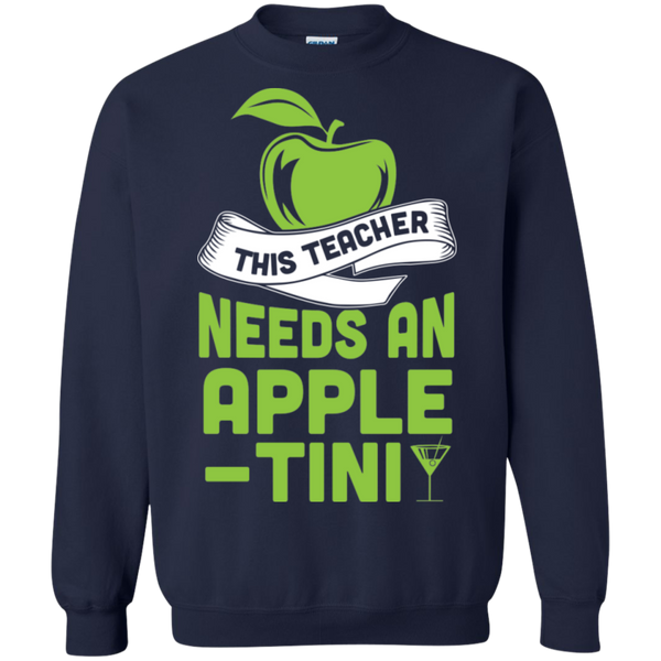 THIS TEACHER NEEDS AN APPLE-TINI Crewneck Pullover Sweatshirt  8 oz - TeachersLoungeShop - 3