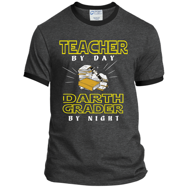 Teacher By Day Darth Grader By Night Ringer Tee - TeachersLoungeShop - 3