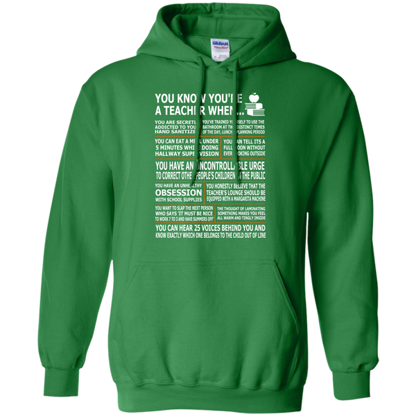 You Know You're a Teacher When Pullover Hoodie 8 oz - TeachersLoungeShop - 8