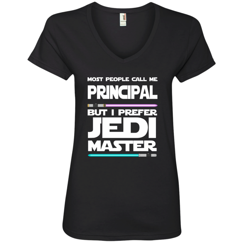Most People Call Me Principal But I Prefer Jedi Master Ladies' V-Neck Tee - TeachersLoungeShop - 1