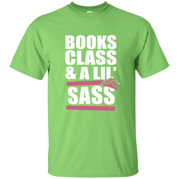 Books Class and A Little Sass Cotton T-Shirt - TeachersLoungeShop - 2