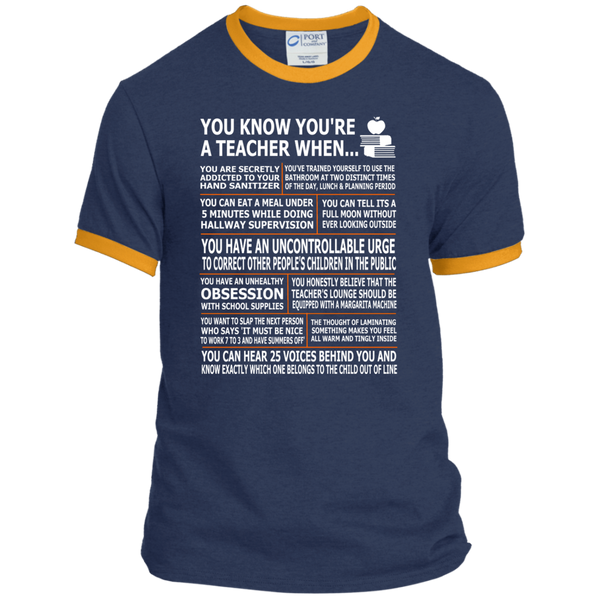 You Know You're a Teacher When Ringer Tee - TeachersLoungeShop - 1