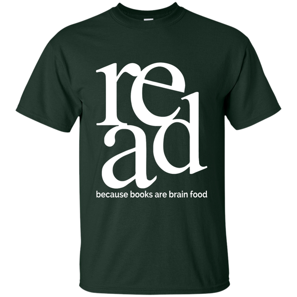 Read Because Books Are Brain Food Cotton T-Shirt - TeachersLoungeShop - 5