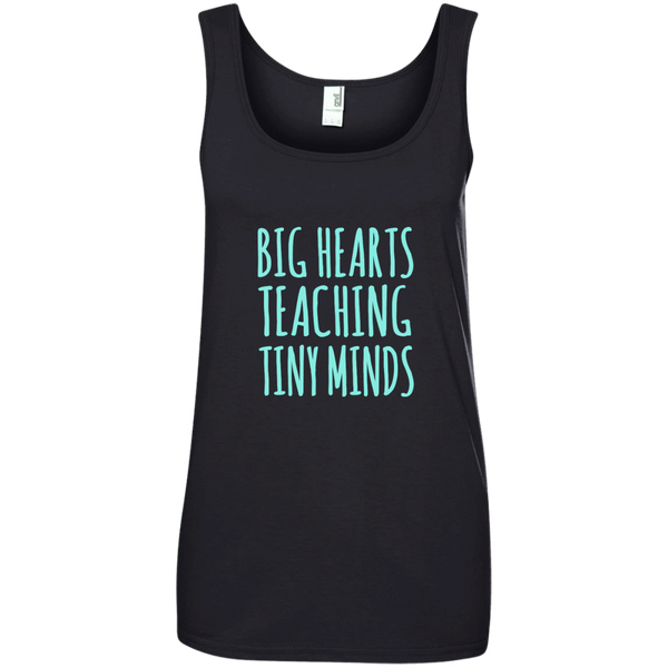 Big Hearts Teaching Tiny Minds Ladies' 100% Ringspun Cotton Tank Top - TeachersLoungeShop - 2
