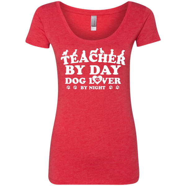 Teacher By Day Dog Lover Next Level Ladies Triblend Scoop - TeachersLoungeShop - 5