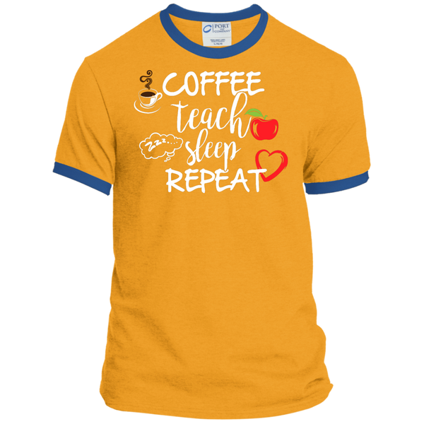 Coffee Teach Sleep Repeat Ringer Tee - TeachersLoungeShop - 4
