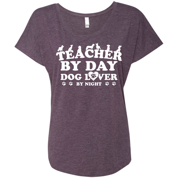 Teacher By Day Dog Lover Next  Level Ladies Triblend Dolman Sleeve - TeachersLoungeShop - 6