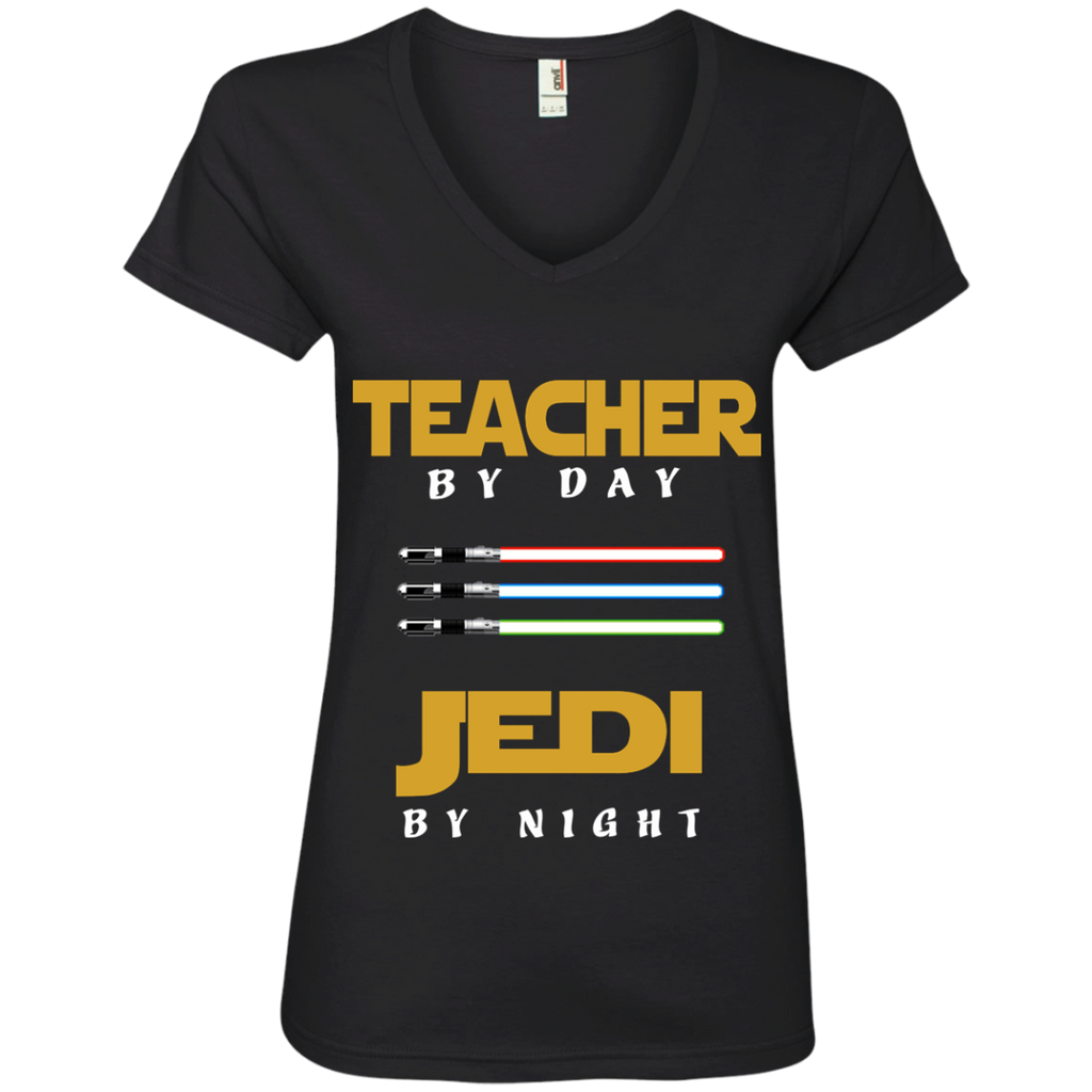 Teacher by Day Jedi by Night Ladies' V-Neck Tee - TeachersLoungeShop - 1