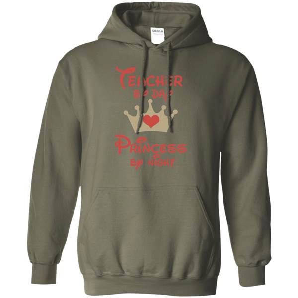 Teacher by Day Princess by Night Pullover Hoodie 8 oz - TeachersLoungeShop - 8