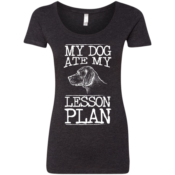 My Dog Ate my Lesson Plan Next Level Ladies Triblend Scoop - TeachersLoungeShop - 2