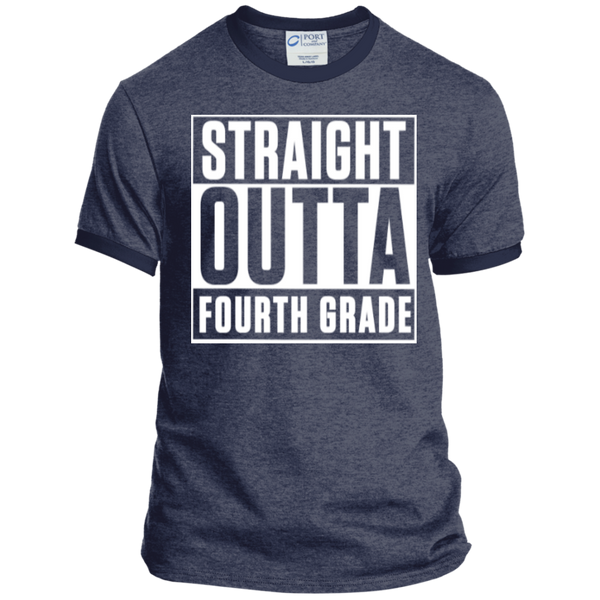 Straight Outta Fourth Grade  Ringer  Tee - TeachersLoungeShop - 5