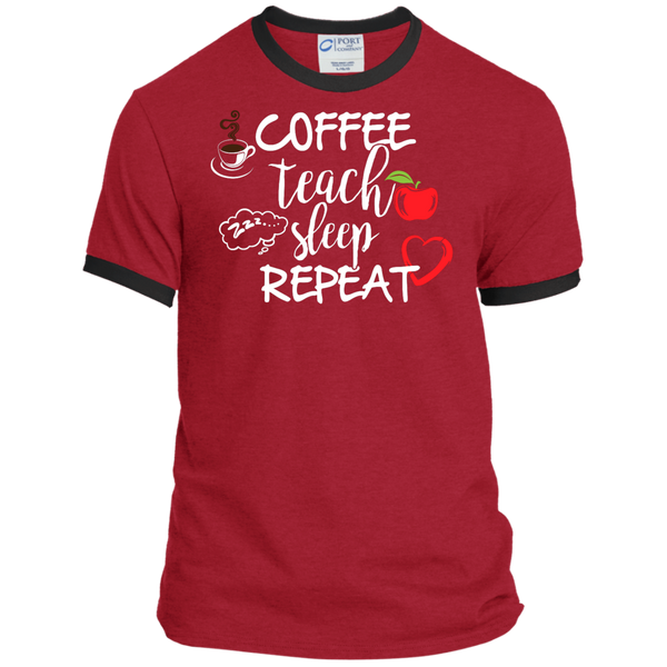 Coffee Teach Sleep Repeat Ringer Tee - TeachersLoungeShop - 7