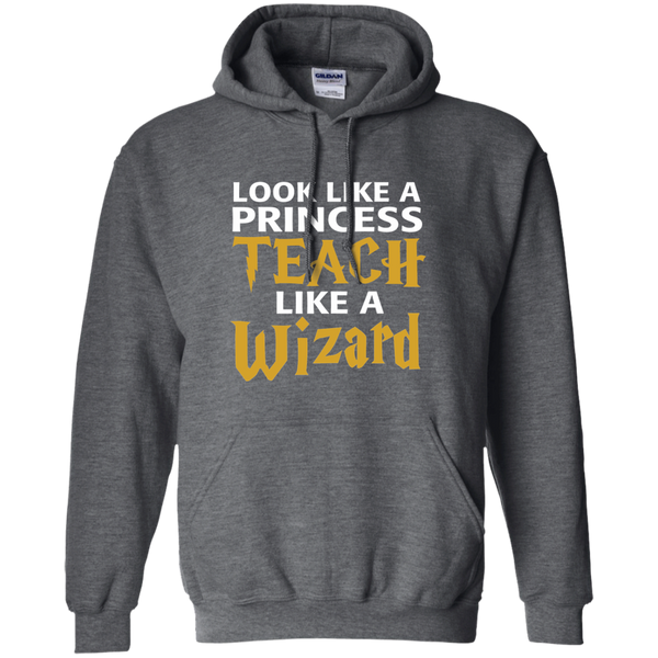 Look Like a Princess Teach Like a Wizard Pullover Hoodie 8 oz - TeachersLoungeShop - 3