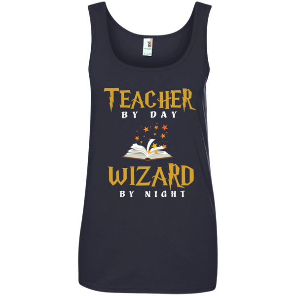 Teacher by Day Wizard by Night Ladies' 100% Ringspun Cotton Tank Top - TeachersLoungeShop - 4