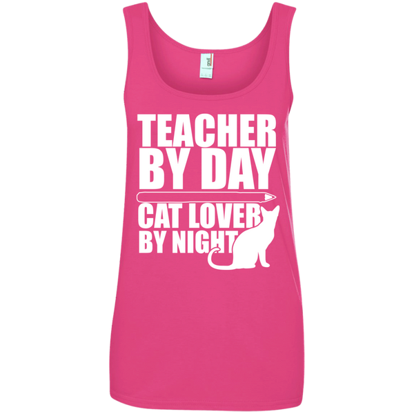 Teacher by Day Cat Lover by Night 100% Ringspun Cotton Tank Top - TeachersLoungeShop - 2