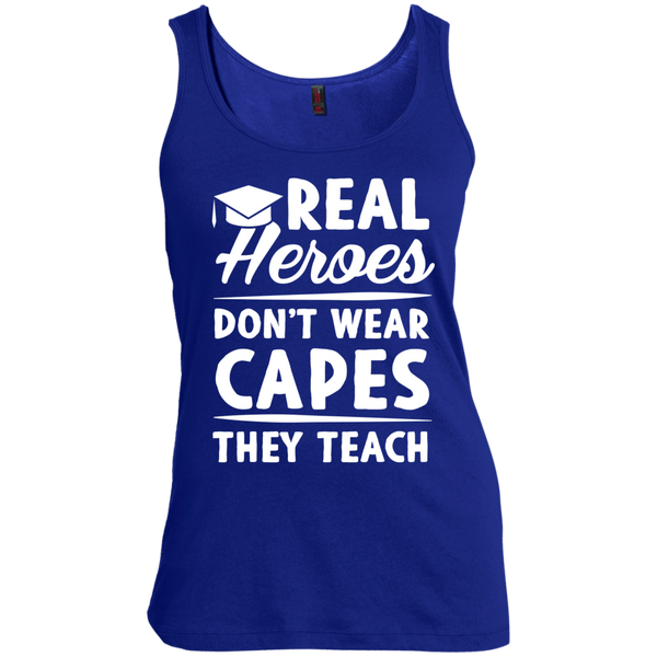 Real Heroes Dont wear capes They Teach  Women's  Scoop Neck Tank Top - TeachersLoungeShop - 5