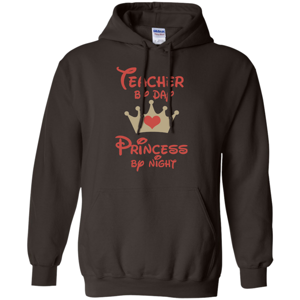 Teacher by Day Princess by Night Pullover Hoodie 8 oz - TeachersLoungeShop - 3