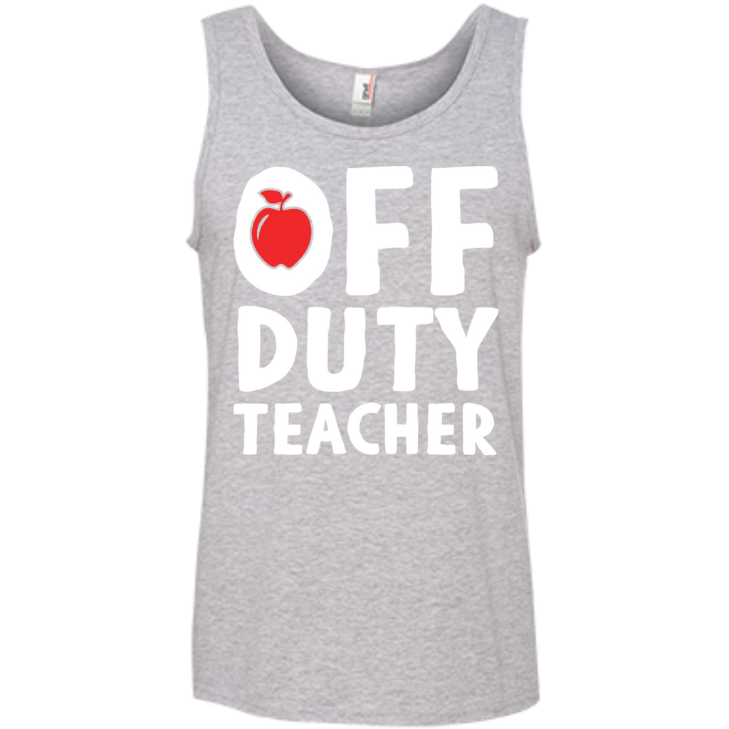 Off Duty Teacher  Ringspun Cotton Tank Top - TeachersLoungeShop - 1