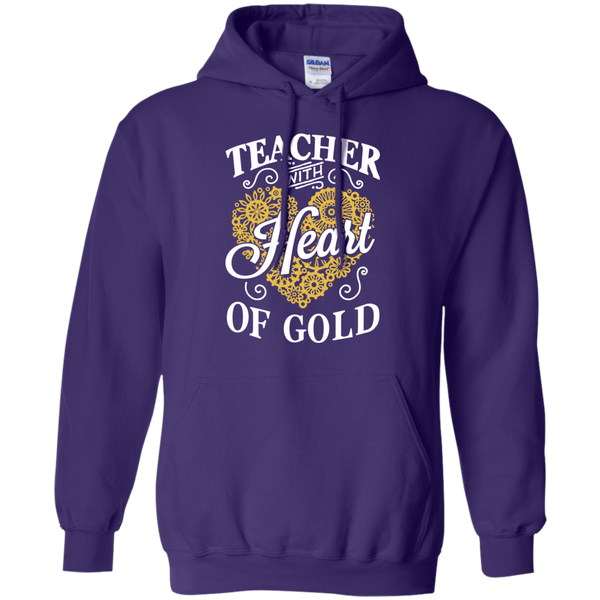 Teacher with Heart of Gold  Hoodie 8 oz - TeachersLoungeShop - 10