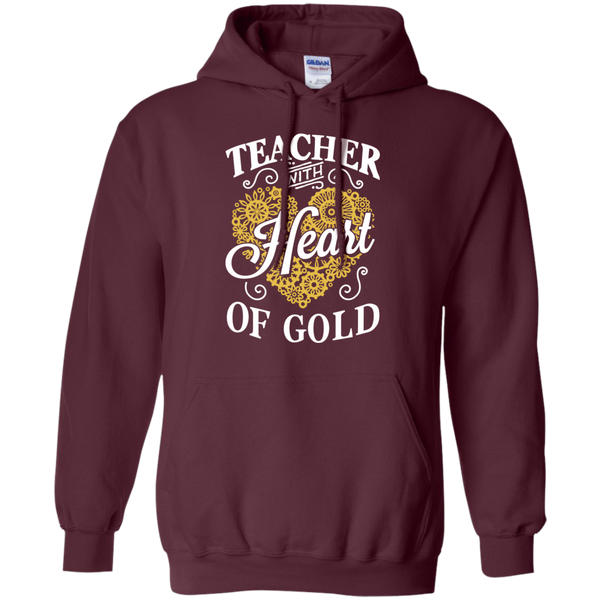 Teacher with Heart of Gold  Hoodie 8 oz - TeachersLoungeShop - 8