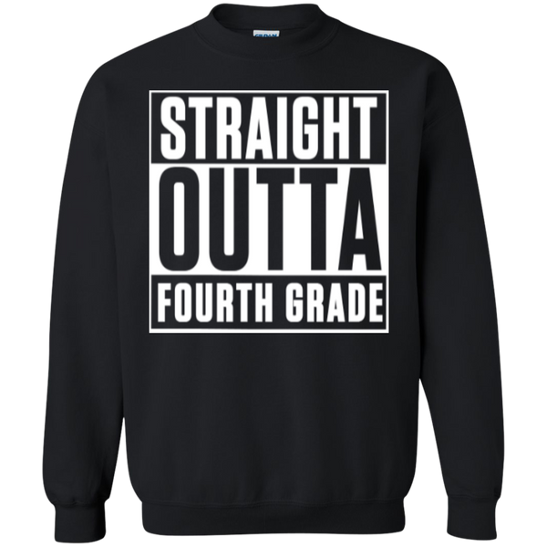 Straight Outta Fourth Grade  Crewneck Pullover Sweatshirt  8 oz - TeachersLoungeShop - 1