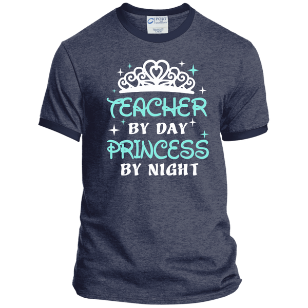 Teacher By Day Princess By Night ver2 Ringer Tee - TeachersLoungeShop - 5