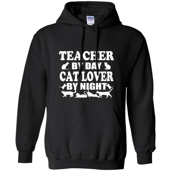 Teacher by Day Cat Lover by Night Pullover Hoodie 8 oz - TeachersLoungeShop - 1