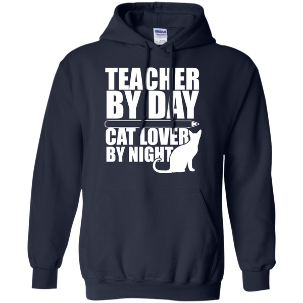 Teacher by Day Cat Lover by Night Hoodie 8 oz - TeachersLoungeShop - 2
