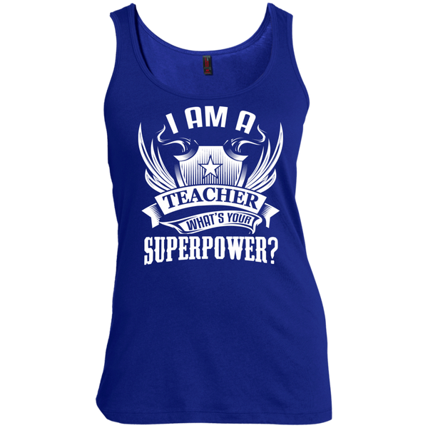 I am a Teacher what's your Superpower  Scoop Neck Tank Top - TeachersLoungeShop - 5
