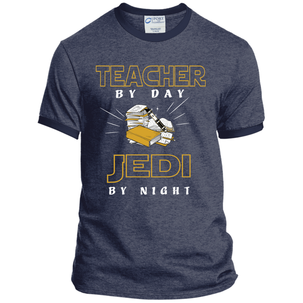Teacher By Day Jedi By Night Ver2 Ringer Tee - TeachersLoungeShop - 3