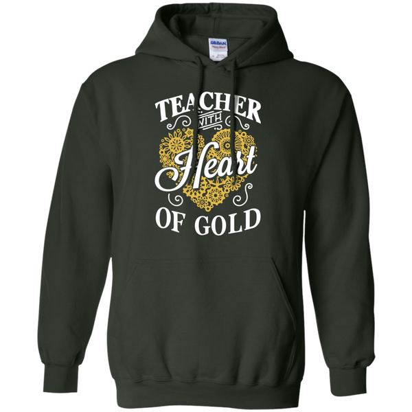 Teacher with Heart of Gold  Hoodie 8 oz - TeachersLoungeShop - 5