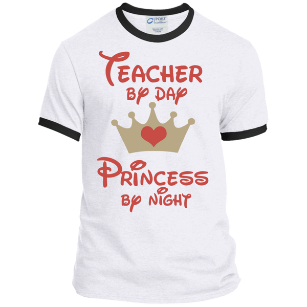 Teacher by Day Princess by Night Ringer Tee - TeachersLoungeShop - 2