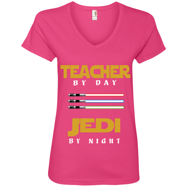 Teacher by Day Jedi by Night Ladies' V-Neck Tee - TeachersLoungeShop - 2