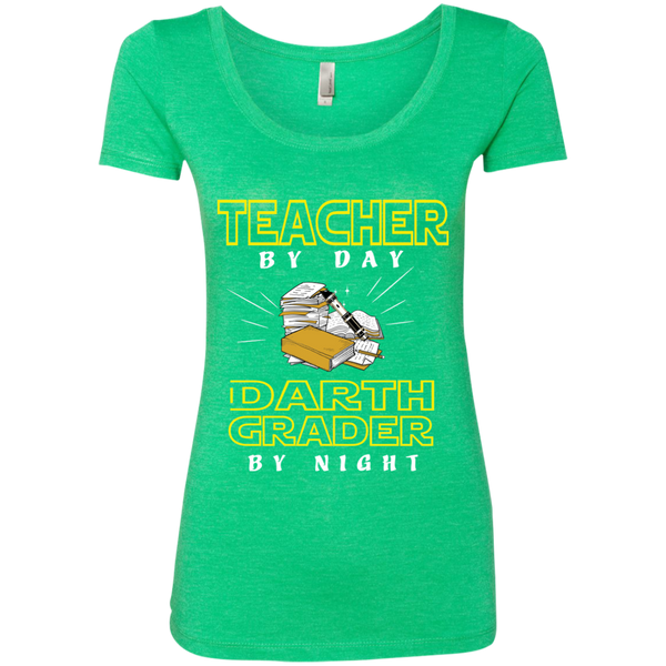 Teacher By Day Darth Grader By Night Next Level Ladies Triblend Scoop - TeachersLoungeShop - 2