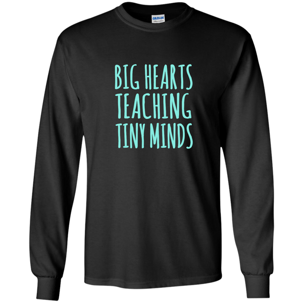 Big Hearts Teaching Tiny Minds LS Ultra Cotton Tshirt - TeachersLoungeShop - 2