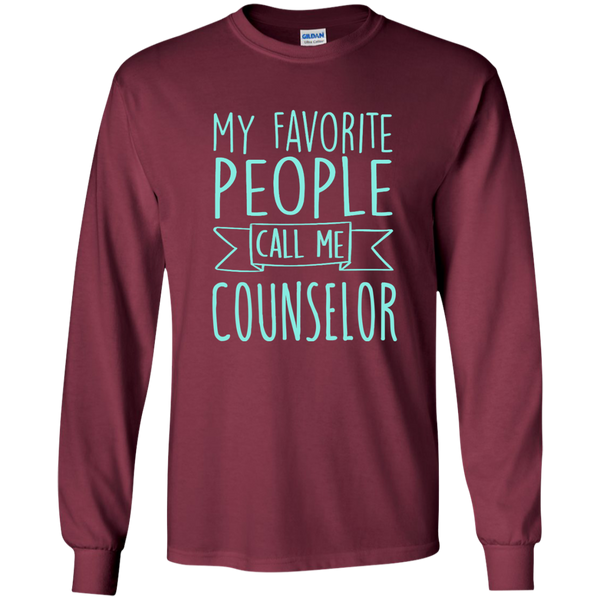 My Favorite People call Me Counselor LS Ultra Cotton Tshirt - TeachersLoungeShop - 5
