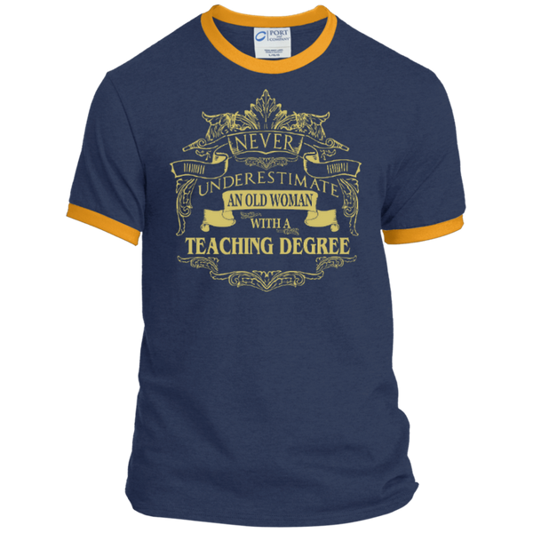 Never Underestimate An Old Woman With A Teaching Degree Ringer Tee - TeachersLoungeShop - 1