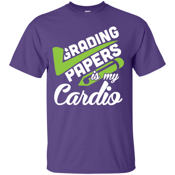 Grading papers is my cardio Cotton T-Shirt - TeachersLoungeShop - 5