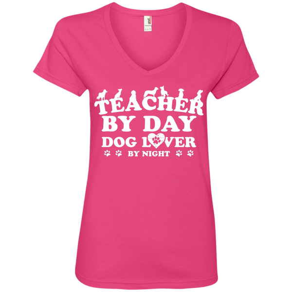 Teacher By Day Dog Lover  Ladies' V-Neck Tee - TeachersLoungeShop - 2