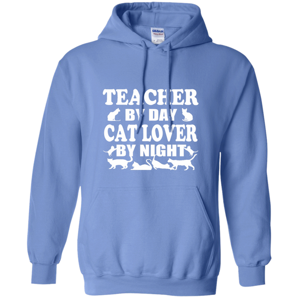 Teacher by Day Cat Lover by Night Pullover Hoodie 8 oz - TeachersLoungeShop - 4