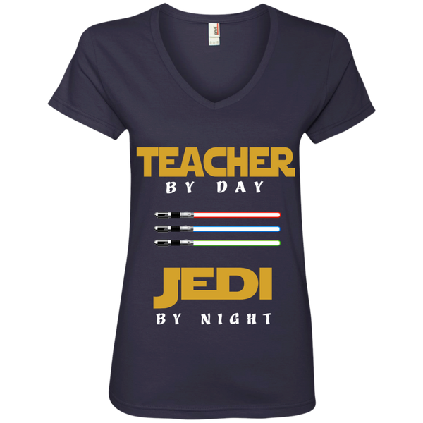Teacher by Day Jedi by Night Ladies' V-Neck Tee - TeachersLoungeShop - 4