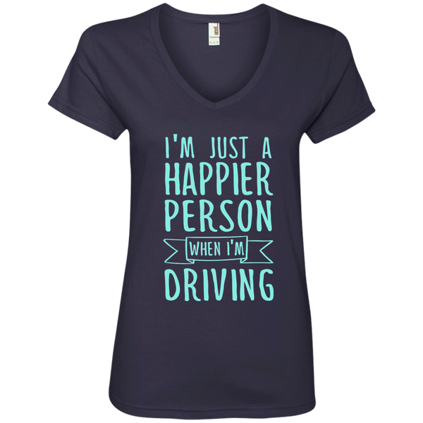 I'm Just a Happier Person When I'm Driving Ladies' V-Neck Tee - TeachersLoungeShop - 4