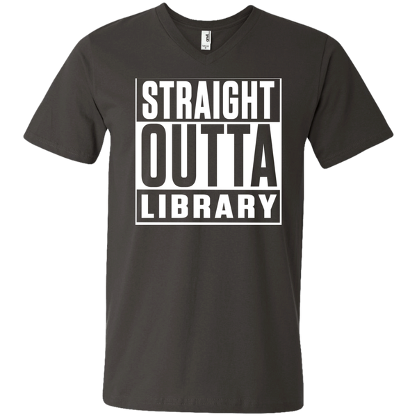Straight Outta Library  Men's Printed V-Neck T - TeachersLoungeShop - 3