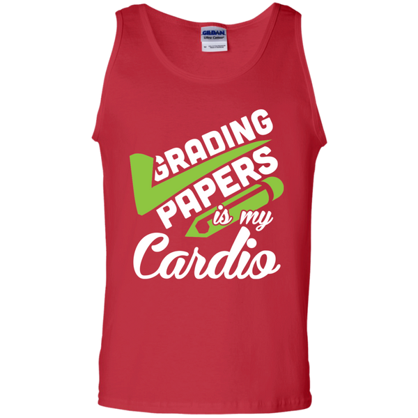 Grading papers is my cardio  100% Cotton Tank Top - TeachersLoungeShop - 3