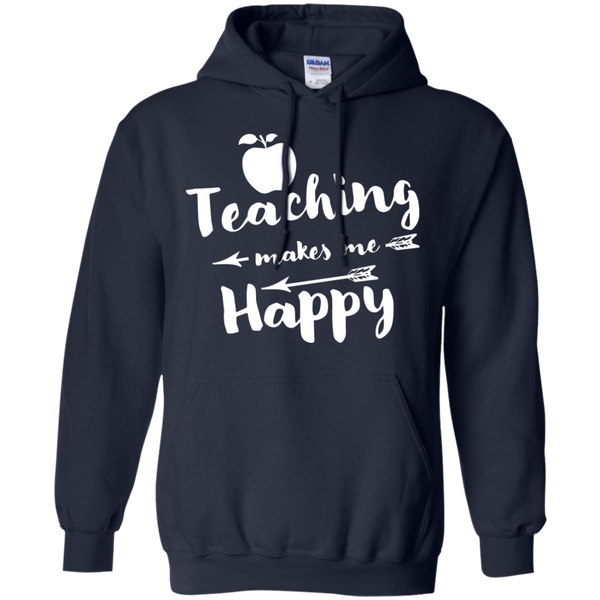 Teaching makes me Happy     Hoodie 8 oz - TeachersLoungeShop - 2