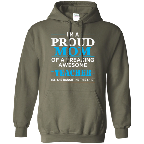 I'm a Proud Mom of a Freaking Awesome Teacher Pullover Hoodie 8 oz - TeachersLoungeShop - 9