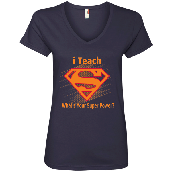 i Teach What's Your Superpower Ladies' V-Neck Tee - TeachersLoungeShop - 5
