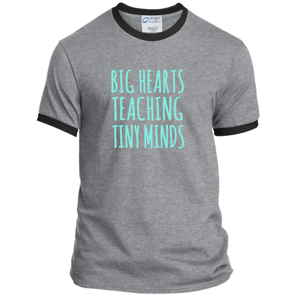Big Hearts Teaching Tiny Minds Ringer Tee - TeachersLoungeShop - 2
