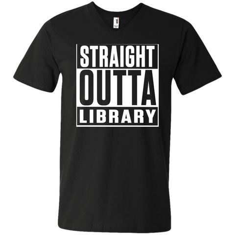 Straight Outta Library  Men's Printed V-Neck T - TeachersLoungeShop - 1